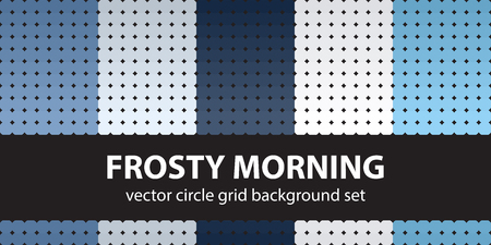 Circle pattern set Frosty Morning. Vector seamless geometric backgrounds - blue, gray and white circles on black backdrops  イラスト・ベクター素材