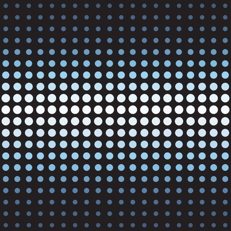 Circle pattern. Seamless vector background - blue, gray and white circles of different size on black backdrop  イラスト・ベクター素材