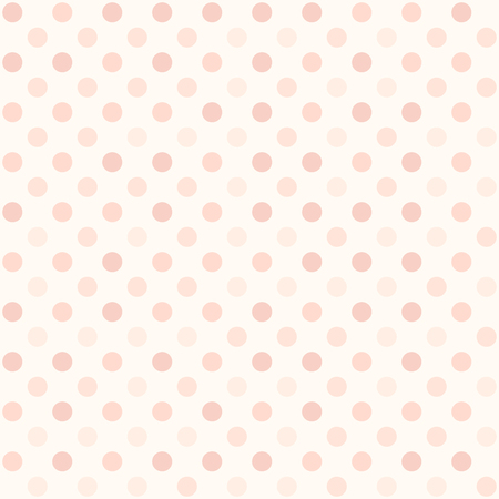 Rose polka dot pattern. Seamless vector background - red circles on light pink backdrop