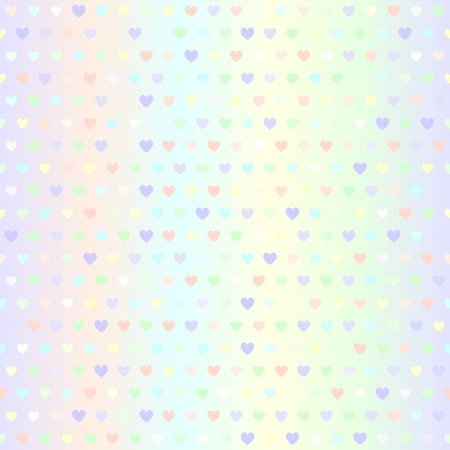 Glowing heart pattern. Seamless vector background - violet, rose, cyan, yellow, green hearts of different size on gradient backdrop