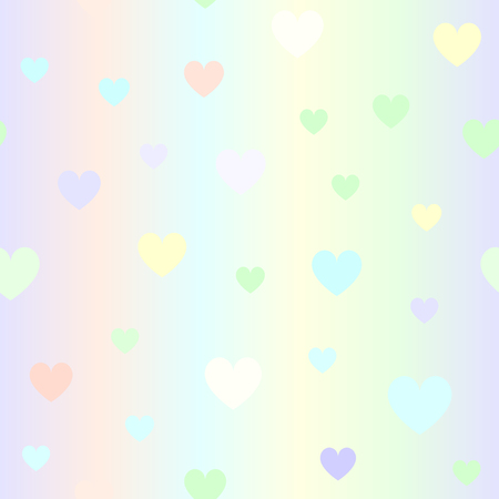 Glossy heart pattern. Seamless vector love background - violet, rose, cyan, yellow, green hearts on glowing backdrop Illustration