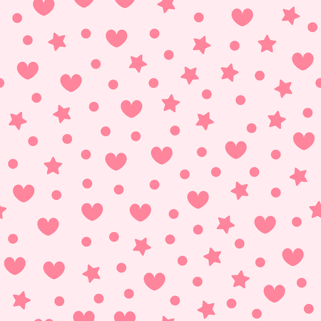 Heart pattern with stars and dots. Seamless vector background - red figures on light pink backdrop
