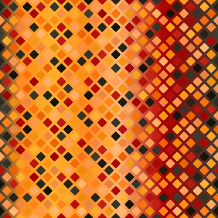 Glowing diamond pattern. Seamless vector background - red, peach, black, orange, pumpkin rounded diamonds on gradient backdrop