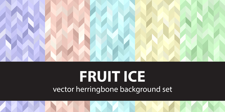 Herringbone pattern set Fruit Ice. Vector seamless parquet backgrounds with violet, rose, cyan, yellow, green polygons