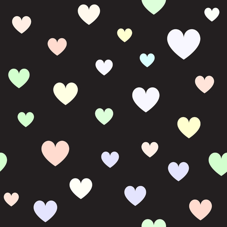 Heart background. Seamless vector pattern - violet, rose, cyan, yellow, green hearts on black backdrop 写真素材 - 125482172