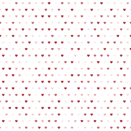 Heart pattern. Seamless vector background - red, rose and pink hearts on white backdrop  イラスト・ベクター素材
