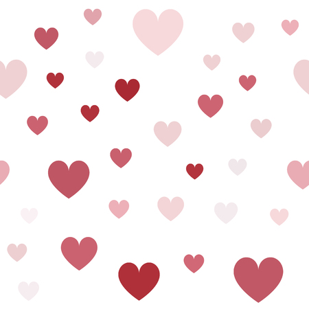 Heart background. Seamless vector pattern - red, rose and pink hearts on white backdrop  イラスト・ベクター素材