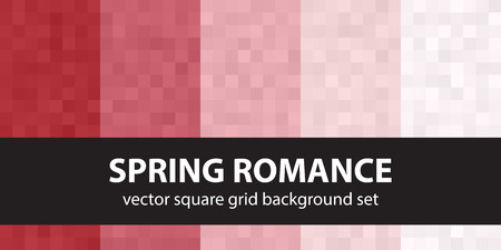 Pixel pattern set Spring Romance. Vector seamless pixel art backgrounds with red, rose and pink squares Vectores