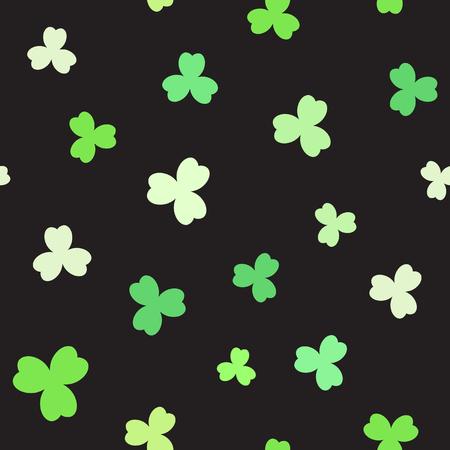 Shamrock pattern. Seamless vector background - green trefoils on black backdrop Stock Illustratie