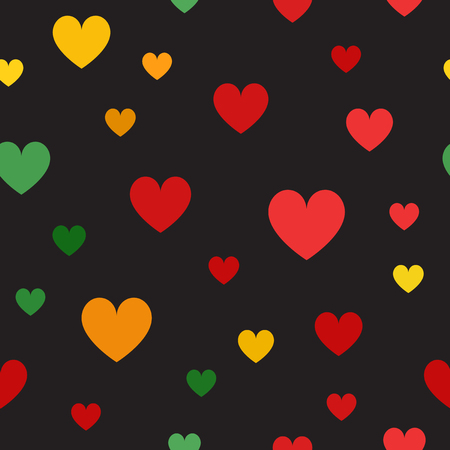 Heart pattern. Seamless vector background - red, light green, yellow, green, orange hearts on black backdrop  イラスト・ベクター素材