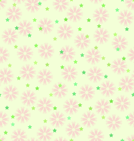 Flower pattern with stars. Seamless vector background - rose daisies and green five-pointed stars on light yellow backdrop