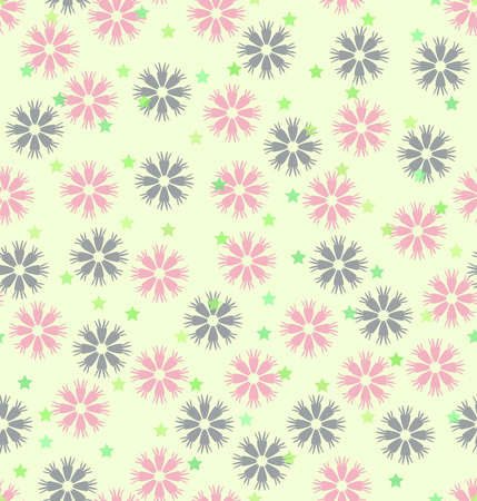 Flower pattern with stars. Seamless vector background - rose daisies, blue cornflowers and green five-pointed stars on light yellow backdrop