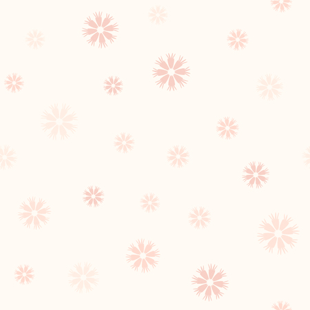 Rose flower pattern. Seamless vector background - red cornflowers on light pink backdrop