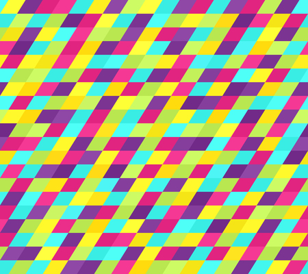 Bright parallelogram pattern. Seamless vector background with cyan, yellow, rose, green, violet polygons