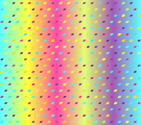 Glowing parallelogram pattern. Seamless vector background - cyan, yellow, rose, green, violet polygons on gradient backdrop
