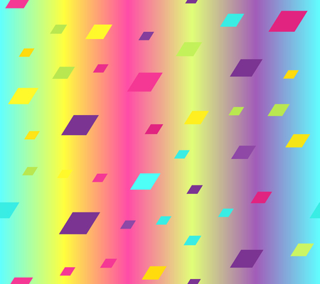 Gradient parallelogram pattern. Seamless vector background - cyan, yellow, rose, green, violet polygons on glowing backdrop Illustration