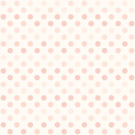 Rose polka dot pattern. Seamless vector background - red dots on light pink backdrop Illustration