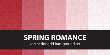 Polka dot pattern set Spring Romance. Vector seamless dot backgrounds - red, rose and pink dots on gradient backdrops