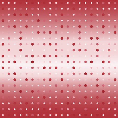 Glowing polka dot pattern. Seamless vector background - red, rose and pink dots of different size on gradient backdrop