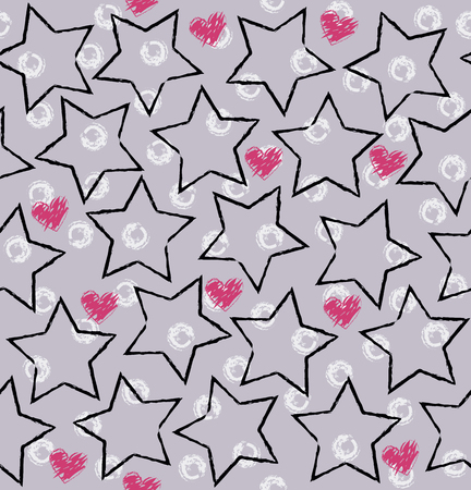 Star, heart pattern. Seamless vector background - black stars, rose hearts and white rings on gray backdrop