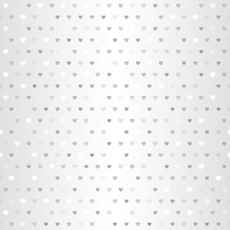 Silver heart pattern. Seamless vector background - gray and white hearts of different size on gradient backdrop