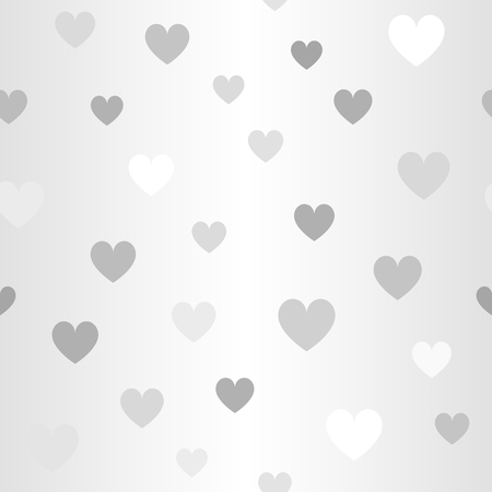 Glowing heart pattern. Seamless vector background - gray, silver and white hearts on gradient backdrop Illustration