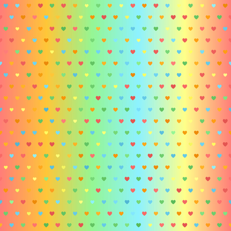 Bright glowing heart pattern. Seamless vector background - red, orange, yellow, green, blue hearts of different size on gradient backdrop