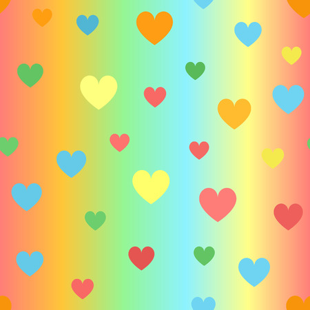 Glowing heart pattern. Seamless vector background - red, orange, yellow, green, blue hearts on gradient backdrop Illustration