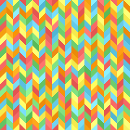 Herringbone pattern. Seamless vector background with red, orange, yellow, green, blue polygons Illustration