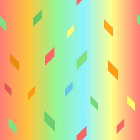 Glowing parallelogram pattern. Seamless vector background - red, orange, yellow, green, blue polygons on gradient backdrop