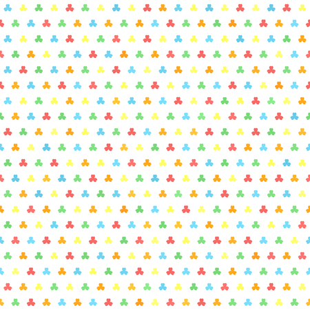 Shamrock pattern. Seamless vector background - red, orange, yellow, green, blue trefoils of different size on white backdrop