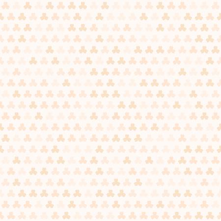 Orange shamrock pattern. Seamless vector background - peach trefoils on light beige backdrop