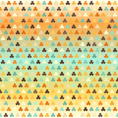 Glowing shamrock pattern. Seamless vector background - beige, brown, orange, yellow, green trefoils on gradient backdrop Illustration
