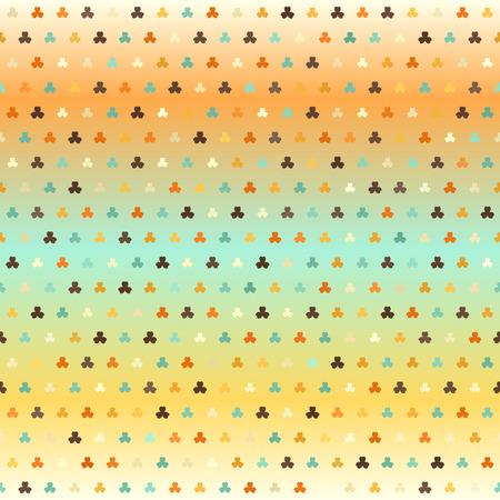 Gradient shamrock pattern. Seamless vector background - beige, brown, orange, yellow, green trefoils of different size on glowing backdrop