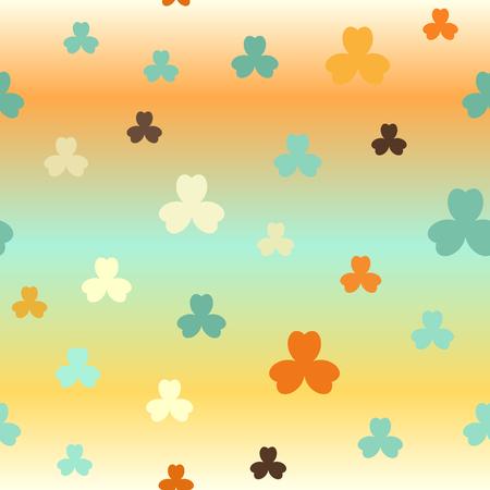 Gradient shamrock pattern. Seamless vector background - beige, brown, orange, yellow, green trefoils on glowing backdrop