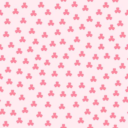 Shamrock pattern. Seamless vector background - red trefoils on pink backdrop Ilustracja