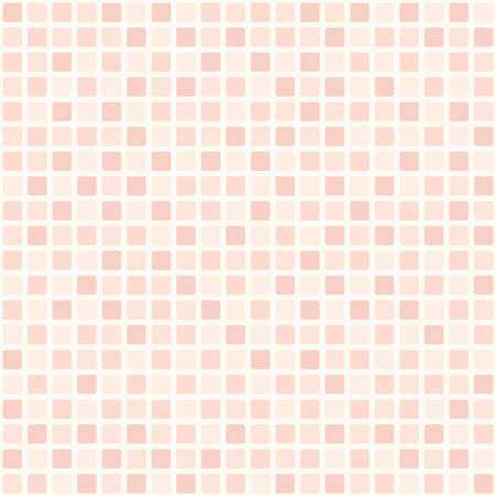Rose square pattern. Seamless vector background - red rounded squares on light pink backdrop