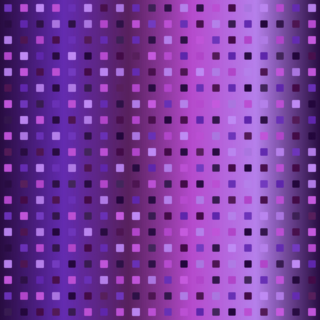 Glowing square pattern. Seamless vector background - amethyst, lavender, plum, purple, violet squares on gradient backdrop Illustration