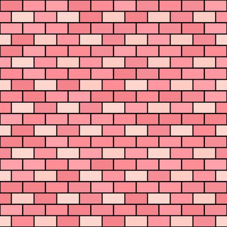 Brick wall pattern. Seamless vector background - rose and peach bricks on black backdrop Illustration