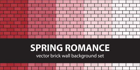 Brick pattern set Spring Romance. Vector seamless brick wall backgrounds - red, rose and pink rectangular bricks on black backdrops