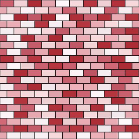Brick wall pattern. Seamless vector background - red, rose and pink rectangular bricks on black backdrop Illustration