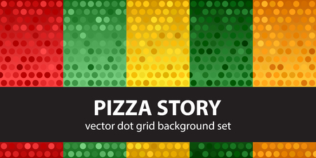 Polka dot pattern set Pizza Story. Vector seamless backgrounds - red, light green, yellow, green, orange circles on gradient backdrops