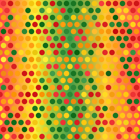 Glowing polka dot pattern. Seamless vector background - red, light green, yellow, green, orange circles on glossy backdrop