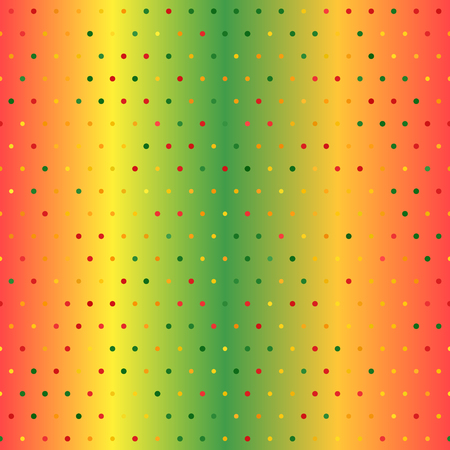 Glowing polka dot pattern. Seamless vector background - red, light green, yellow, green, orange dots of different size on gradient backdrop