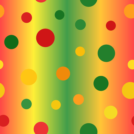 Glossy circle pattern. Seamless vector background - red, yellow, green, orange circles on glowing backdrop Illustration