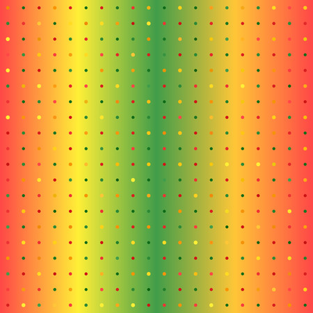 Gradient polka dot background. Seamless vector pattern - red, yellow, green, orange dots of different size on glowing backdrop