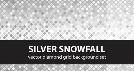 Diamond pattern set Silver Snowfall. Vector seamless geometric backgrounds - grey, gray, white rounded diamonds on gradient backdrops Illustration