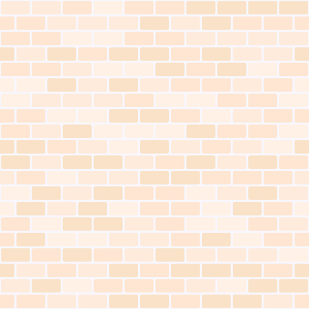 Peach brick wall pattern. Seamless vector background - orange rounded rectangular bricks on light beige backdrop Çizim