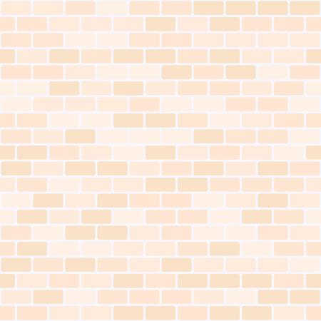 Peach brick wall pattern. Seamless vector background - orange rounded rectangular bricks on light beige backdrop Illustration