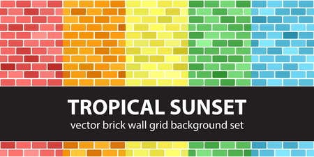 Brick pattern set Tropical Sunset. Vector seamless brick wall backgrounds - red, orange, yellow, green, blue rounded rectangular bricks on white backdrops